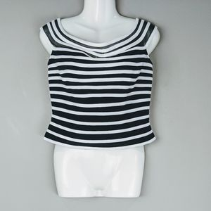 Vintage | Striped Cropped Top Blouse 10